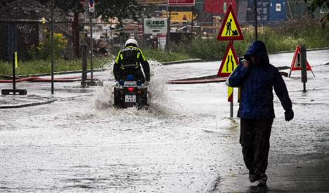 Oslo roads flooded in summer storm