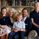 (L-R) Princess and heir to the throne Ingrid Alexandra, Prince Sverre Magnus and Mette-Marit's son from a previous relationship Marius Borg Høiby with their parents. Photo: Photo: Lise Åserud