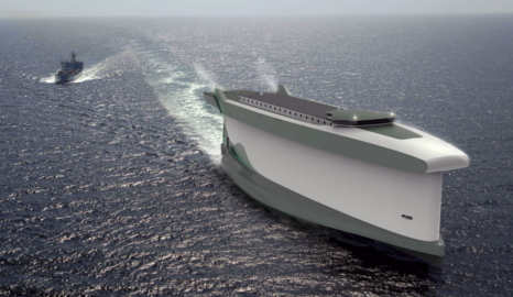 The cargo ship whose hull is a giant sail