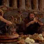 """<strong>Steak.</strong> From the Old Norse """"steikja"""", meaning """"to roast on a spit"""", which is what the Norse invaders probably did to any Anglo-Saxon cattle, sheep and goats they stumbled across.  Photo: Another scene from the classic 1958 film The Vikings."""