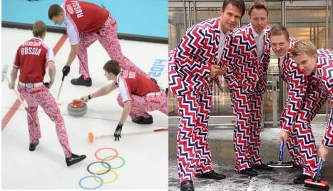 Russia's curling team unveils crazy trousers