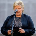 """Norwegian Prime Minister Erna Solberg makes her speech on Tuesday morning in the government headquarters, Oslo. She said, """"The memory of the 22nd July compels all of us to fight for openess, tolerance and solidarity. Trust is our greatest strength."""" Photo: Vegard Grøtt / NTB scanpix"""