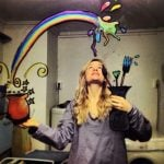 """""""Paintbrush and Rainbow"""" - """"I drew this mirror selfie in Stavanger, Norway. The motive just came to me, and I drew it as i pictured it in my mind,"""" said Helene Meldahl.Photo: Helen Meldahl / mirrorsme"""