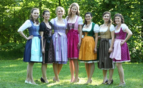 Dirndl's on show: the seven finalists. Photo: DPA
