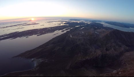 Drone view of Norway's Arctic midnight sun