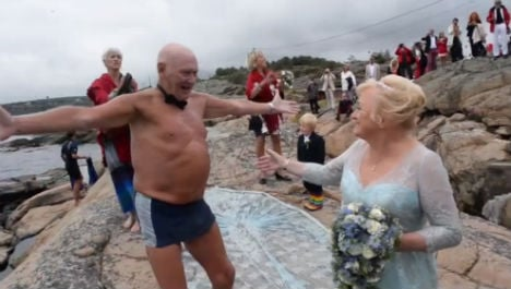 79-year-old Norwegian swims to own wedding