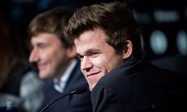 Norway's chess champ Carlsen pulls even with Russian grandmaster