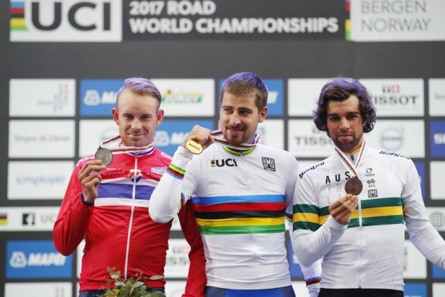 Cycling: Sagan wins historic third straight world title in Norway
