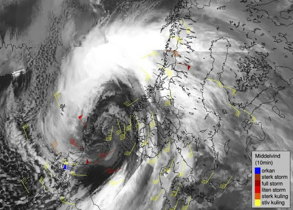 Extreme weather system Aina batters Norway