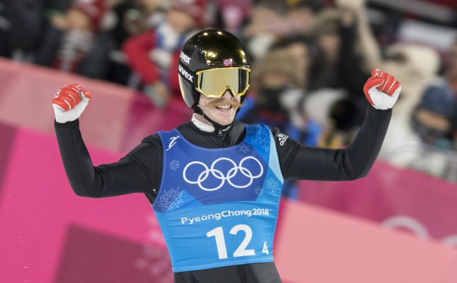 'Flying moustache' leads Norway to Olympic ski jump gold