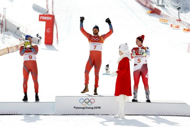 Norway's Svindal wins gold in Olympic men's downhill