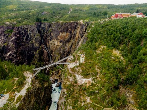 In pictures: Spectacular new bridge gives aerial view of Norwegian waterfall