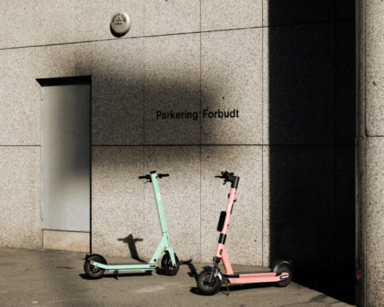 Have new rules had an impact on the number of accidents involving scooters in Oslo. Pictured it two e-scooters parked outside a